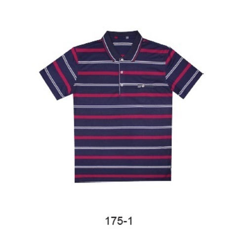 Massimo Romano Short Sleeve Polo Navy With White/Red Stripes