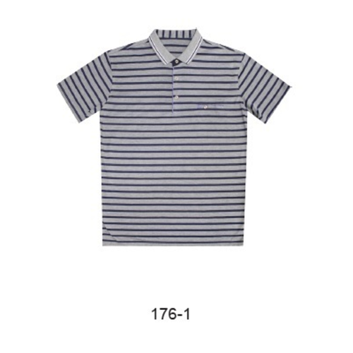 Massimo Romano Short Sleeve Polo White with Navy Stripes