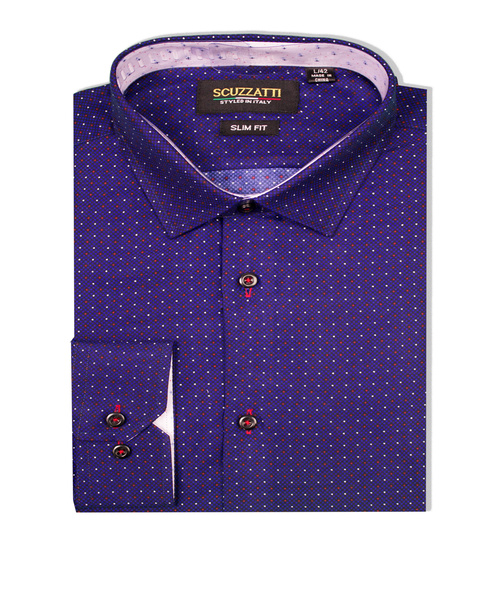 Oscar Slim Shirt Microfibre Indigo Red Dot